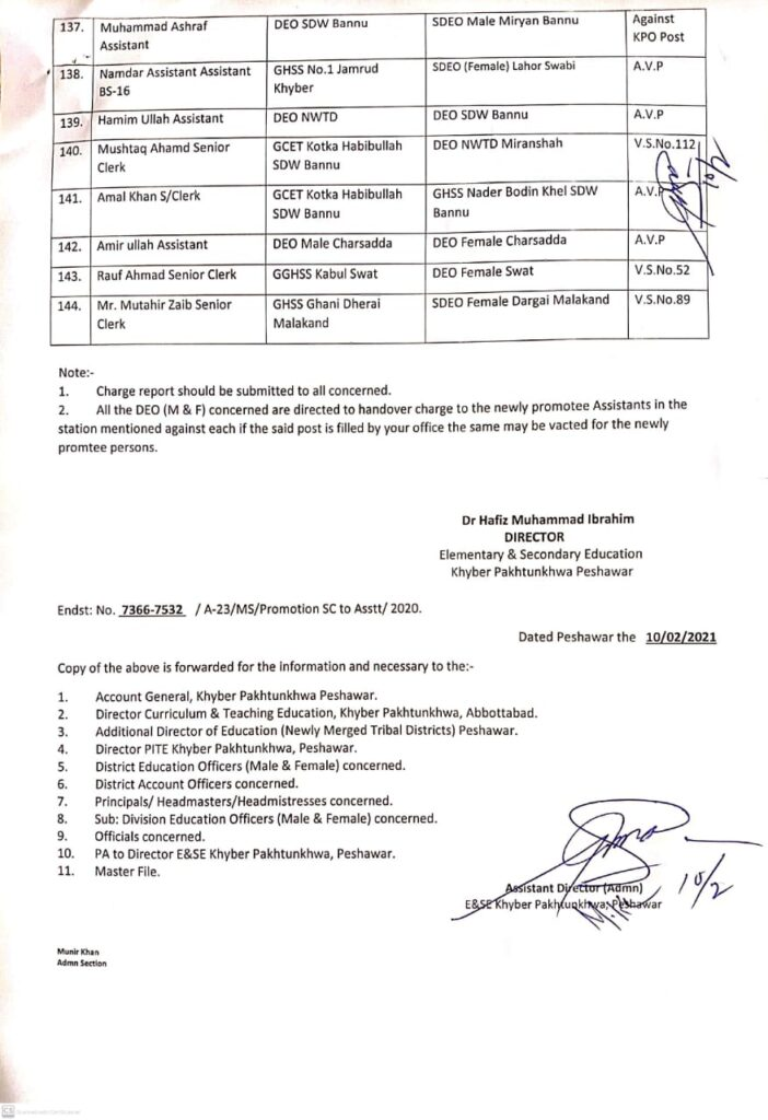 PROMOTION OF SENIOR CLERKS TO ASSISTANT